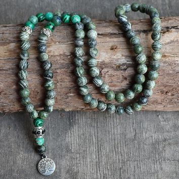 Vintage Boho Jewelry Green Grass Stone With Meditation Life Of Tree Buddha Pendant Rosary Women Men Necklaces & Pendants
