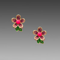 Juicy Couture Colorful Pave Flower Stud Earring in Neon Pink
