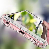 Shockproof  TPU Silicone Clear  Phone Case Cover for iPhone X 5S 6 Plus 7 Plus 8 8 Plus