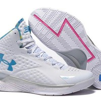 LMFON3A VAWA Men's Under Armor Curry 1 Basketball Shoes White