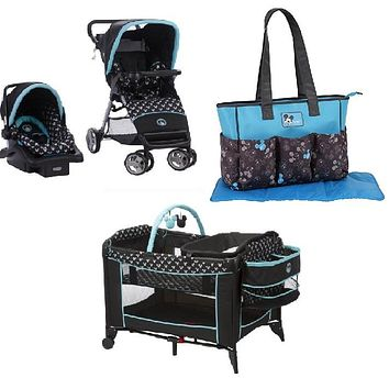 Disney Mickey Shadow Baby Gear Bundle,Stroller Travel System,Play Yard, and Diaper Bag