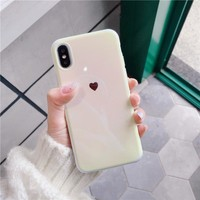 Blue Ray Laser Love Heart Soft silicon Phone Case For iPhone 6 6s 7 8 plus X XR XS XS Max