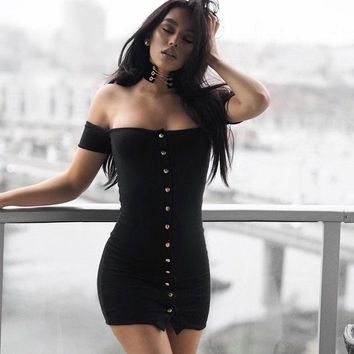 Stylish Short Sleeve Slim One Piece Dress