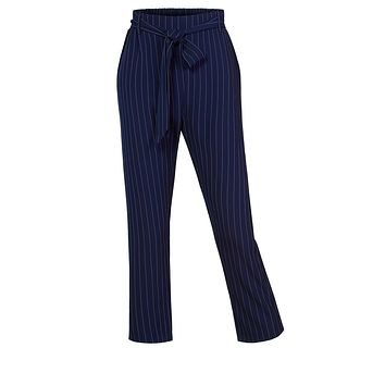 Casual High Waist Pin Stripe Straight Legs Pants with Removable Self Tie (CLEARANCE)