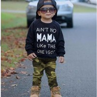 Puseky 0-2Y Newborn Toddler Infant Kid Baby Boys Clothes Long Sleeve Mama Sweatshirt Top +Pants 2pcs Outfits Kids Clothing Set