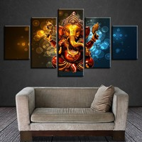 Canvas HD Prints Poster Wall Art 5 Pieces Elephant Trunk God Paintings Modular Ganesha Pictures Living Room Cuadros Decor Frame