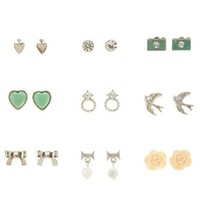 Silver Novelty Stud Earrings - 9 Pack by Charlotte Russe