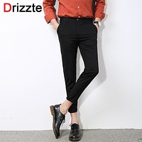 Fashion Mens Stretch Ankle Length Dress Pants Work Slim Dress Pants Business Trousers Black Grey
