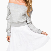 Light Grey Off-Shoulder Sweatshirt