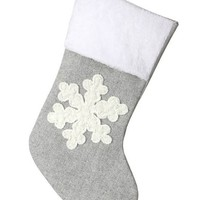 "Holiday Decor Snowflake Fabric Stocking in Grey White - 20"" Tall"