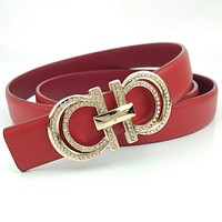 Ferragamo New Hot Sale Women Men Diamond Smooth Buckle Belt Leather Belt Red