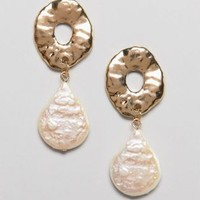 ASOS DESIGN earrings with textured open circle and faux pearl in gold at asos.com
