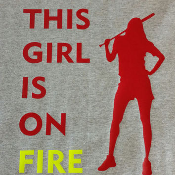 This girl is on fire softball shirt- fastpitch - softball - sports shirts- softball player- softball girl-
