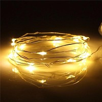 7.5 FT | 20 LED Battery Operated Warm White Fairy String Lights With Silver Wire