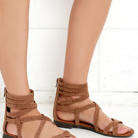 Report Gibbson Tan Suede Gladiator Sandals