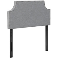Upholstered Padded Arched Silver Accented Button Nailhead Trim,Textured Fabric Headboards