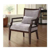 Wood Accent Chair Ladder Style Arms Grey Upholstery With One Pillow Home Decor