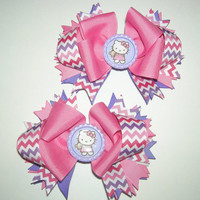 Pink and Purple Chevron Hello Kitty Boutique Pig Tail Bows