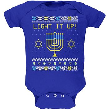 Hanukkah Light It Up Ugly Christmas Sweater Soft Baby One Piece