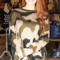 Camouflage Print Oversized Knit Sweater