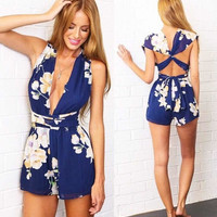 Casual Backless Party Evening Printed Jumpsuit