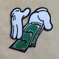 Hands With Money Iron On Patch