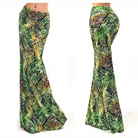 Skirt Prom Dress Green Leaf Print Club One Piece Dress [6043062721]