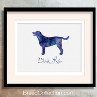 Black Lab - Watercolor - Breed Collection - Digital Download Printable - Frameable 8x10 plus Greeting Card Design