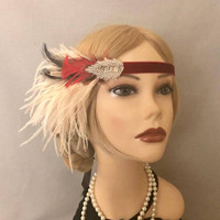 Gatsby Style Red Velvet Leaf Mauve Ostrich Feather Fringe 1920s Headband Headpiece Headdress 20s style Art Deco Flapper dress (722)