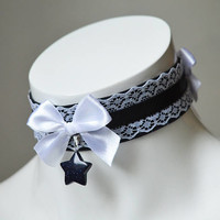 Kitten play day collar - Starshine - ddlg little maid princess elegant night choker with crystal star - gothic lolita pet - black and white