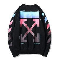OFF- WHITE Fashion Casual Rainbow Gradient Round Neck Loose Long Sleeve Sweatshirt