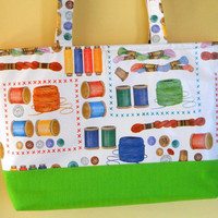 Gift for her, Handmade Designer Sewing bag, Oil cloth and Cotton Tote Bag, Fabric Tote.  Gift Ideas