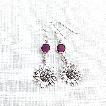 Metal Flower Earrings, Silver Flower Dangle, Purple Crystal, Sunflower, Nature Earrings for Women, 591