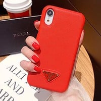 PRADA Hot Sale Mobile Phone Cover Case For iphone 6 6s 6plus 6s-plus 7 7plus 8 8plus X XSMax XR Red