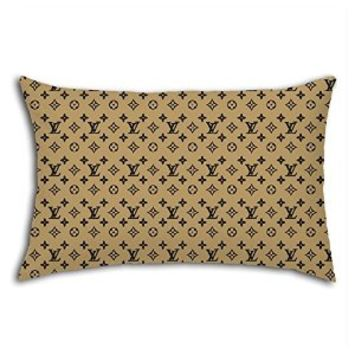 Gold Brown Lv Pattern for Pillow Case (20 X 30 Inches (Two Side))