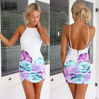Floral Printed Backless Mini Dress