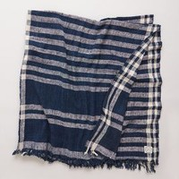Lost & Found Striped Gingham Throw Blue One Size Throws