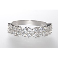 925 Sterling Silver Cubic Zirconia Micropave Set CZ Ring 5mm Wide Band
