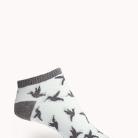 FOREVER 21 Dove Ankle Socks Mint/Grey One