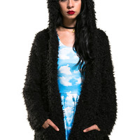 Black Fuzzy Teddy Bear Jacket - LAST ONE