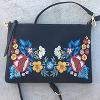 Evelyn Embroidered Clutch/Crossbody Bag