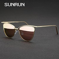 SUNRUN small Women Sun glasses 2017 New Fishion Brand Designer eyewear Sunglasses for Women Cat Eye Vintage Glasses 90680