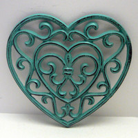 Heart Cast Iron Trivet Hot Plate Dark Turquoise Distressed Shabby Chic Ornate Swirly Heart Shaped Fleur de lis Center French Decor