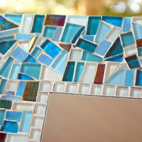 Turquoise, Teal, and Blue Custom Mosaic Mirror