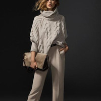 Gray Turtleneck Long-Sleeve Knitted Sweater