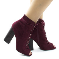 Darlyn07 Burgundy F-Suede Peep Toe Corset Lace Up Stacked Chunky Heel Ankle Booties