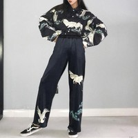Women Personality Red-crowned Crane Print Loose Long Sleeve Lapel Shirt Velvet Leisure Wide Leg Pants Trousers Set Two-Piece