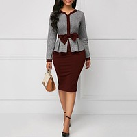 Elegant Women Bodycon Tunic Autumn Long Sleeve High Waist Fashion Afircan Vintage Dress