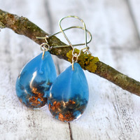 Aquamarine Resin Dangle Earrings With Copper Flakes - Resin Jewelry - Teardrop Resin Earrings