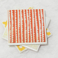 Retro Tile Coasters  in Red, Polka Dot Yellow, and White Theme with Foamed Backs (4)